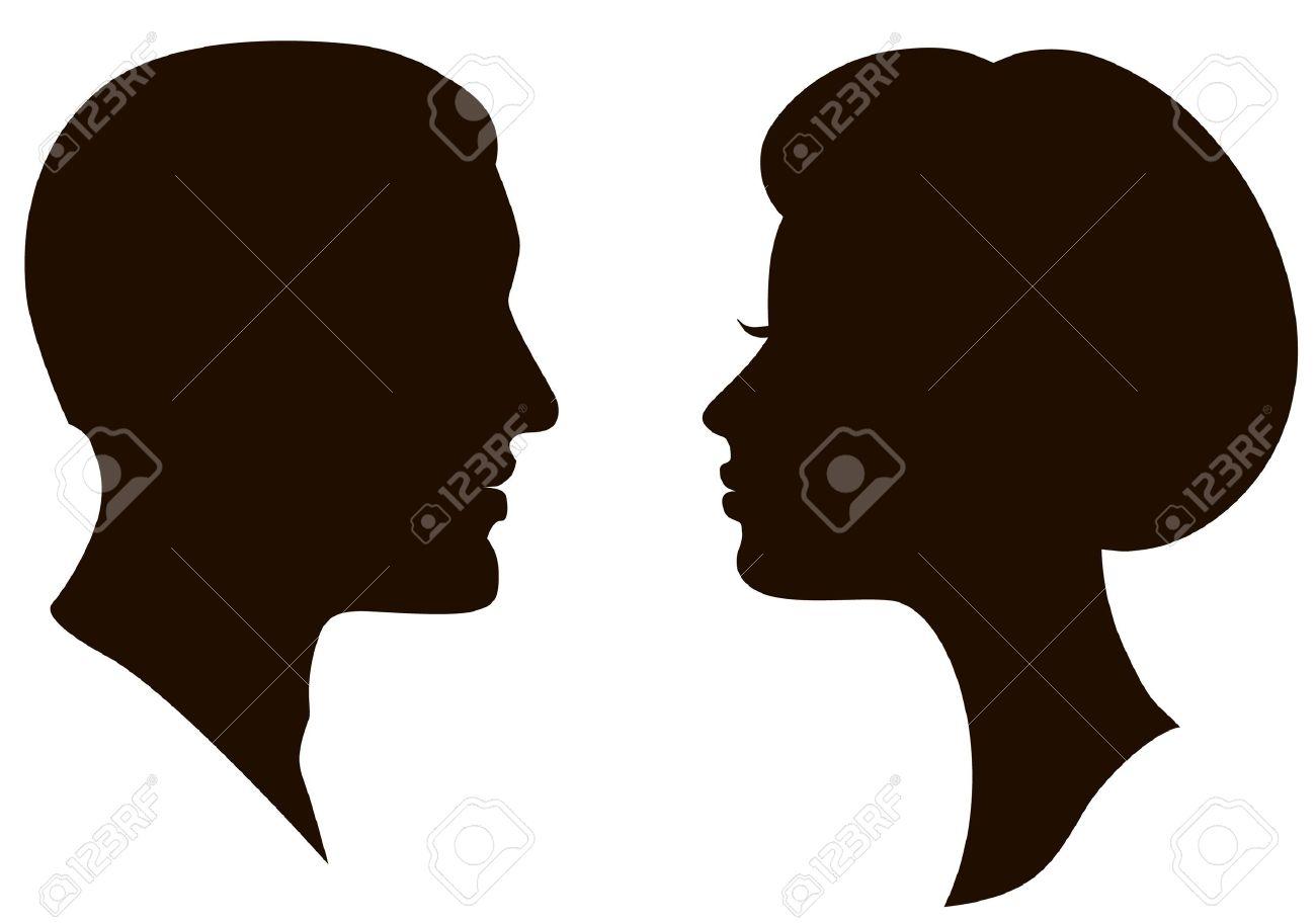 man and woman faces vector profiles Stock Vector - 9719883