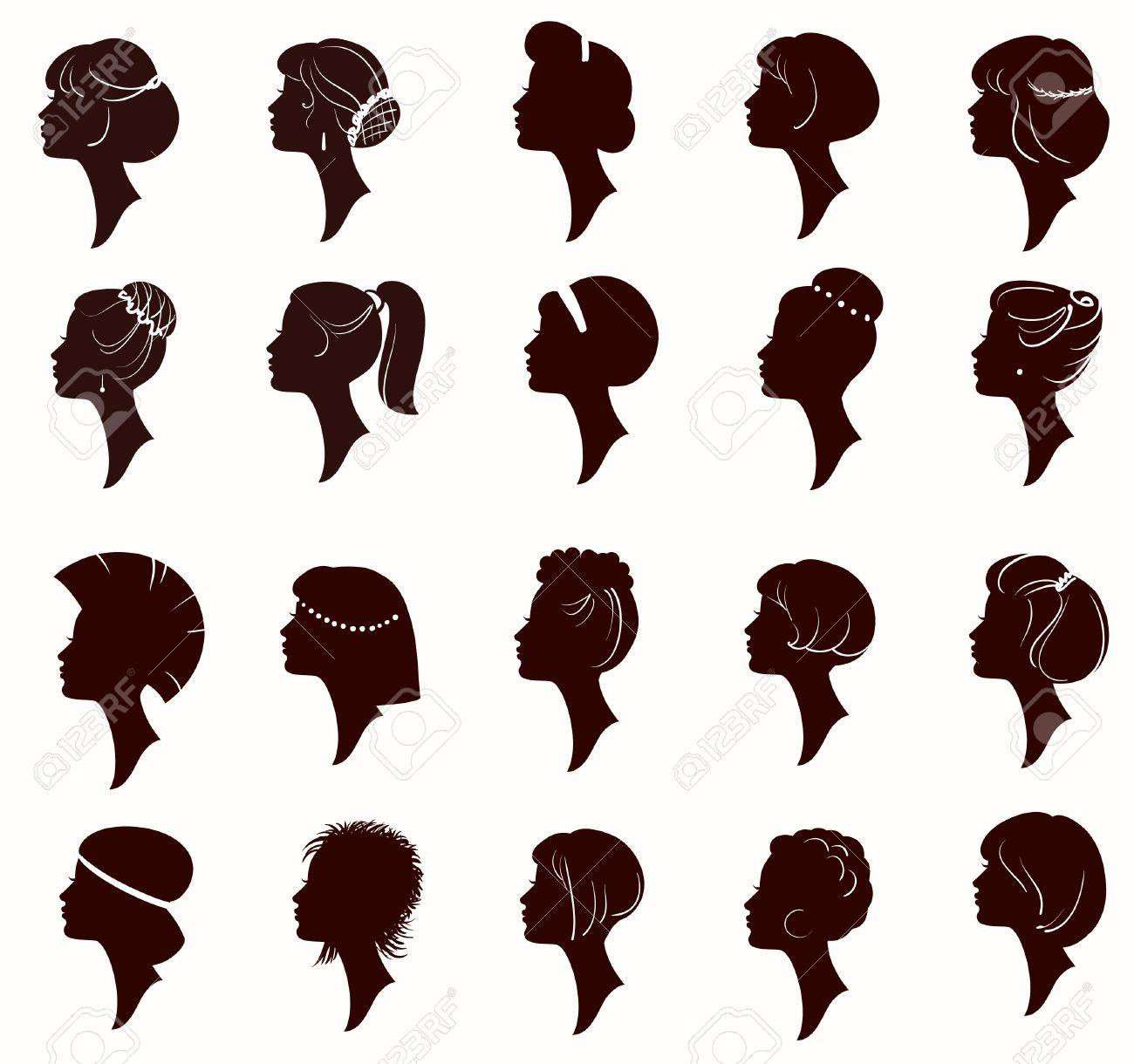 vector set of silhouette portrait of beautiful woman with