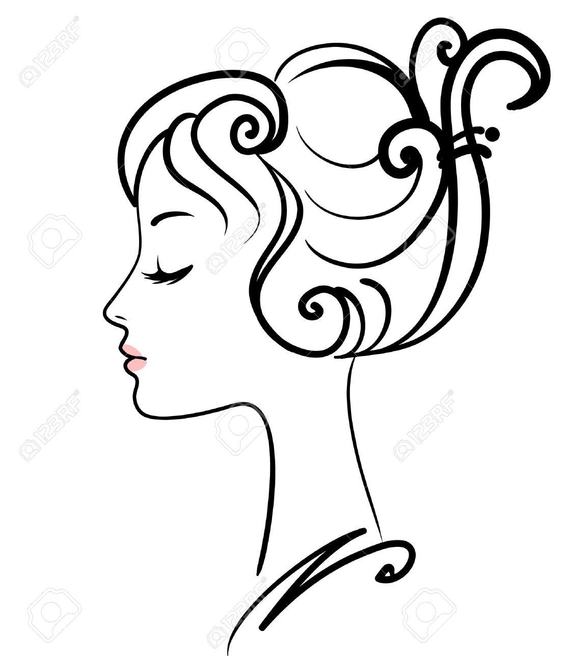 Beautiful Girl Face Vector Illustration Stock