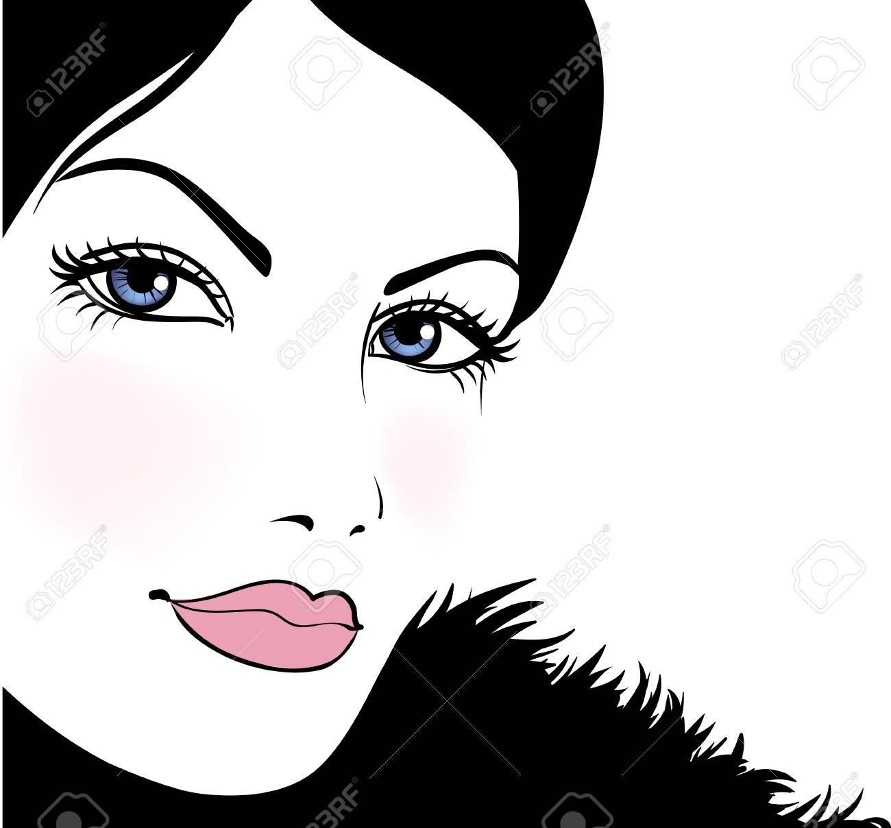 Portrait attractive beautiful girl wearing black fur, vector illustration Stock Vector - 11272422