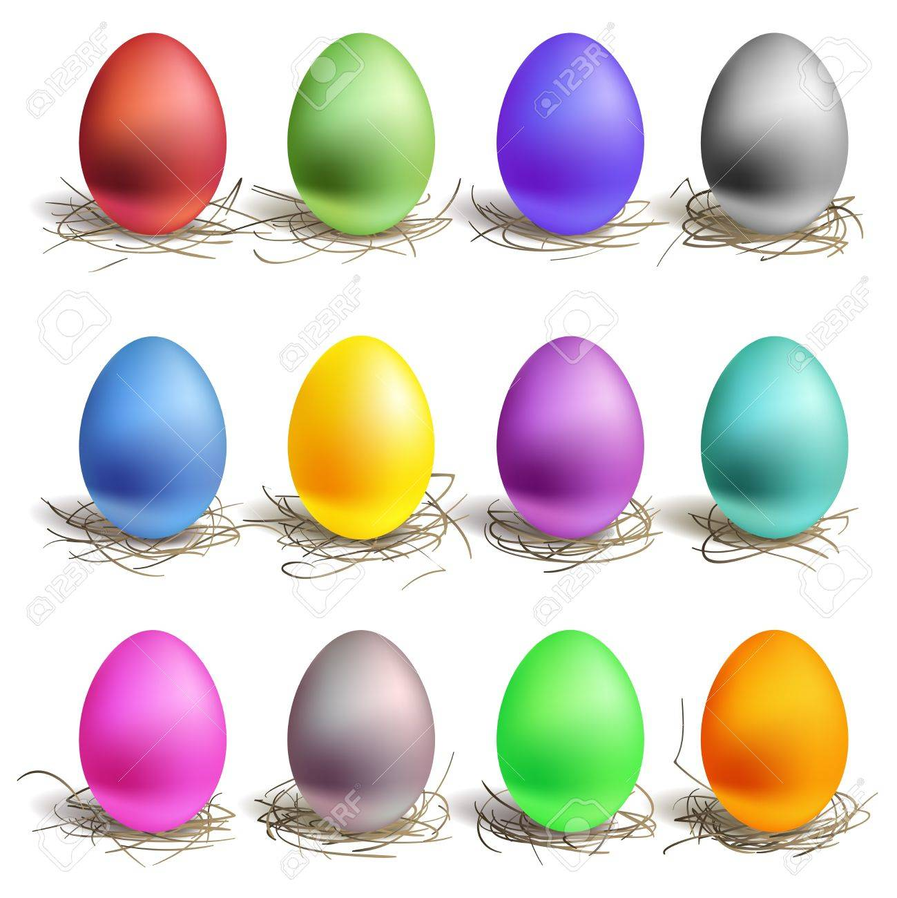 color easter eggs in the nest set of colour stock vector 12119210