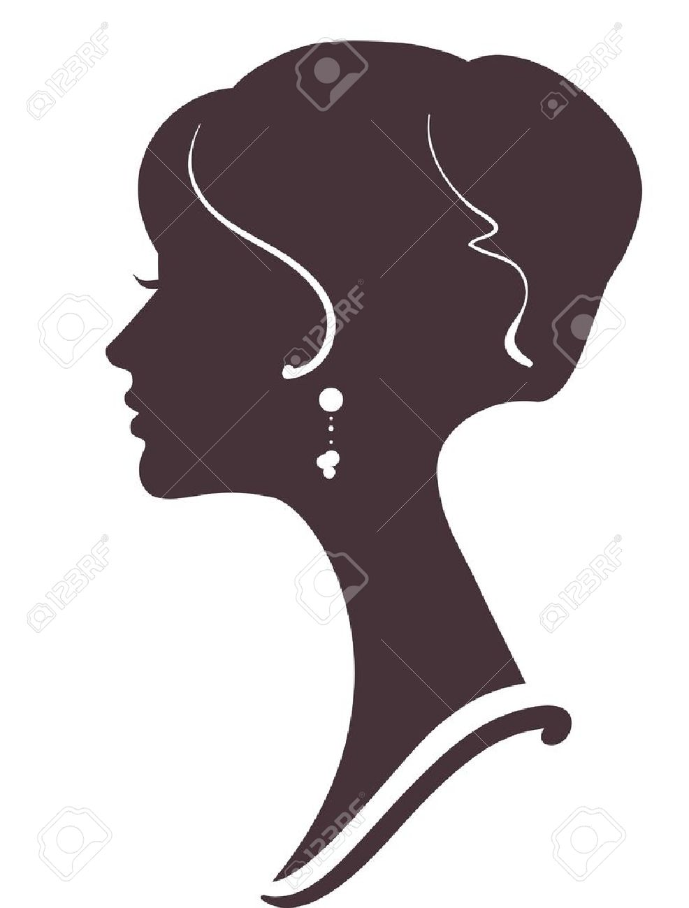 beautiful girl  silhouette with stylish hairstyle Stock Vector - 12495494