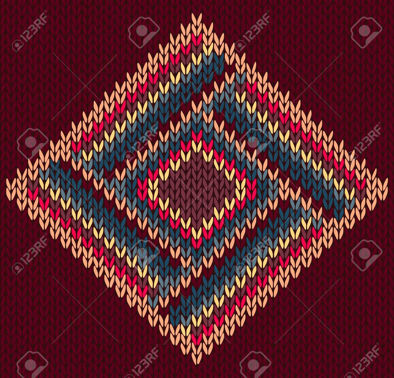 Style Seamless Brown Red Blue Yellow Color Knitted Pattern Stock Vector - 13509216