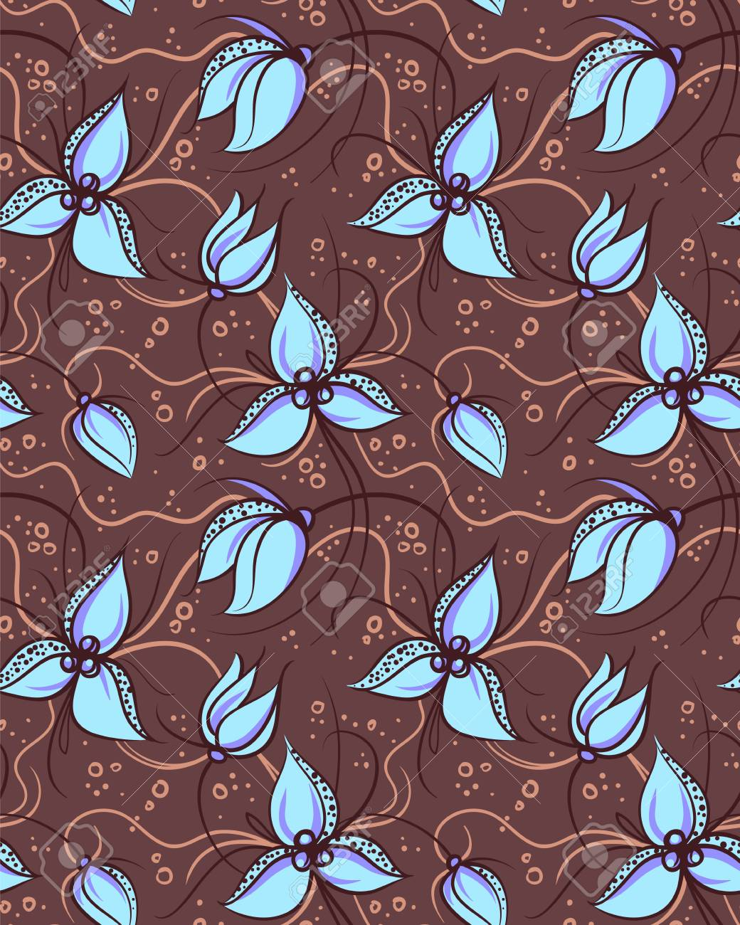 Seamless pattern pink orchid flowers Stock Vector - 13998649