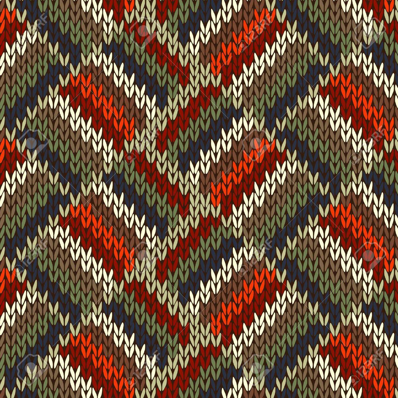Style Seamless Knitted Pattern. Red Blue Green White Orange Color Illustration from my large Collection of Samples of knitted Fabrics Stock Vector - 14412398