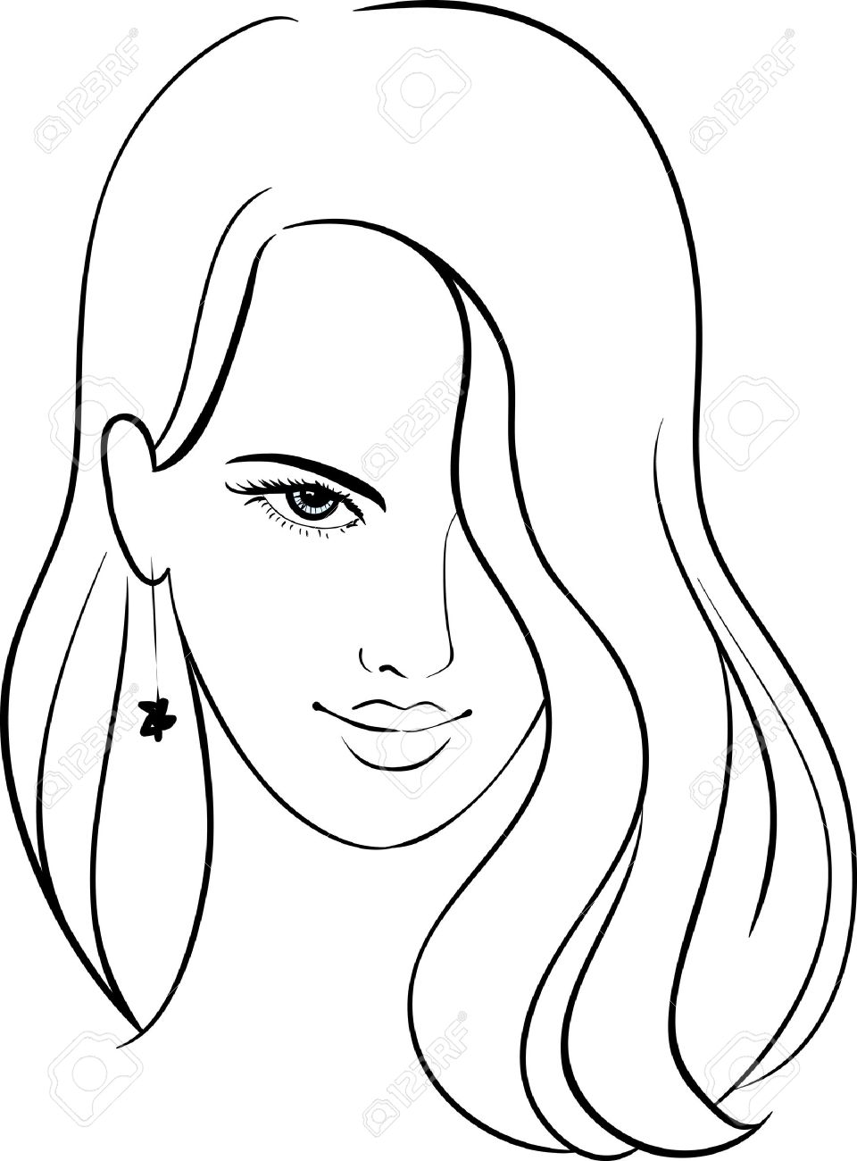 Girl Face with Beautiful Hair, Vector Sketch Stock Vector - 15432901