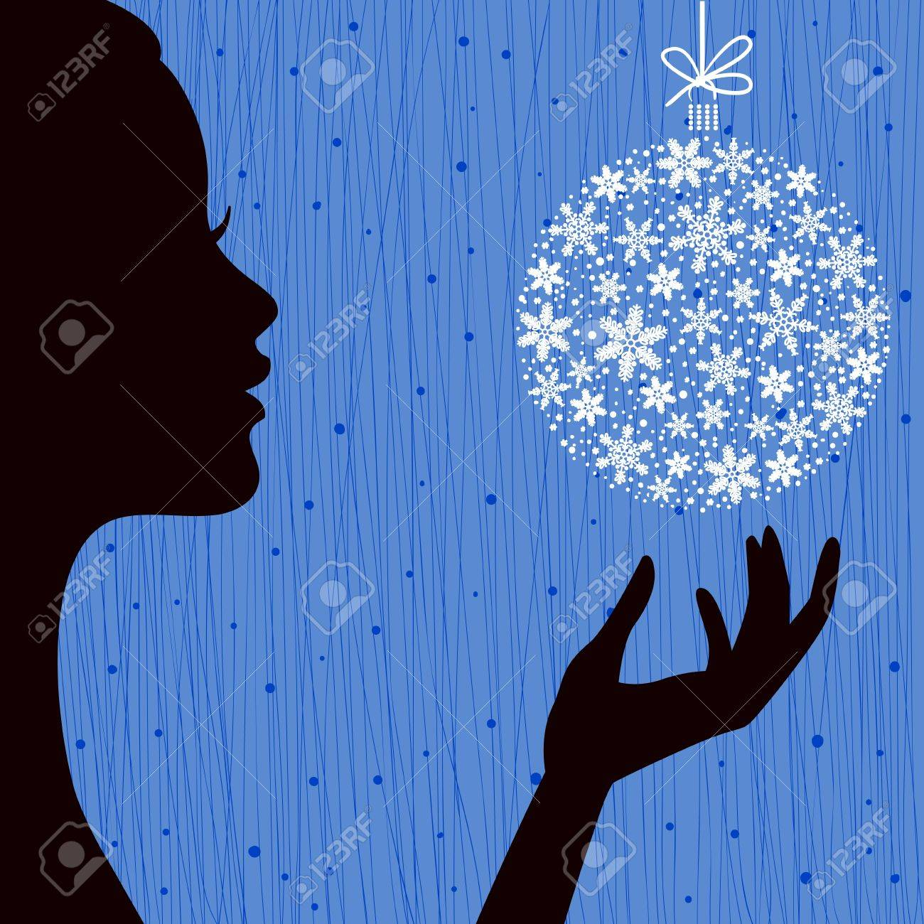 Christmas Eve Red Color Background with the Profile Silhouette of Pretty Young Woman with Snowflake Ball in her Hand. Image May Be Use as Postcard or Placard Stock Vector - 16648599