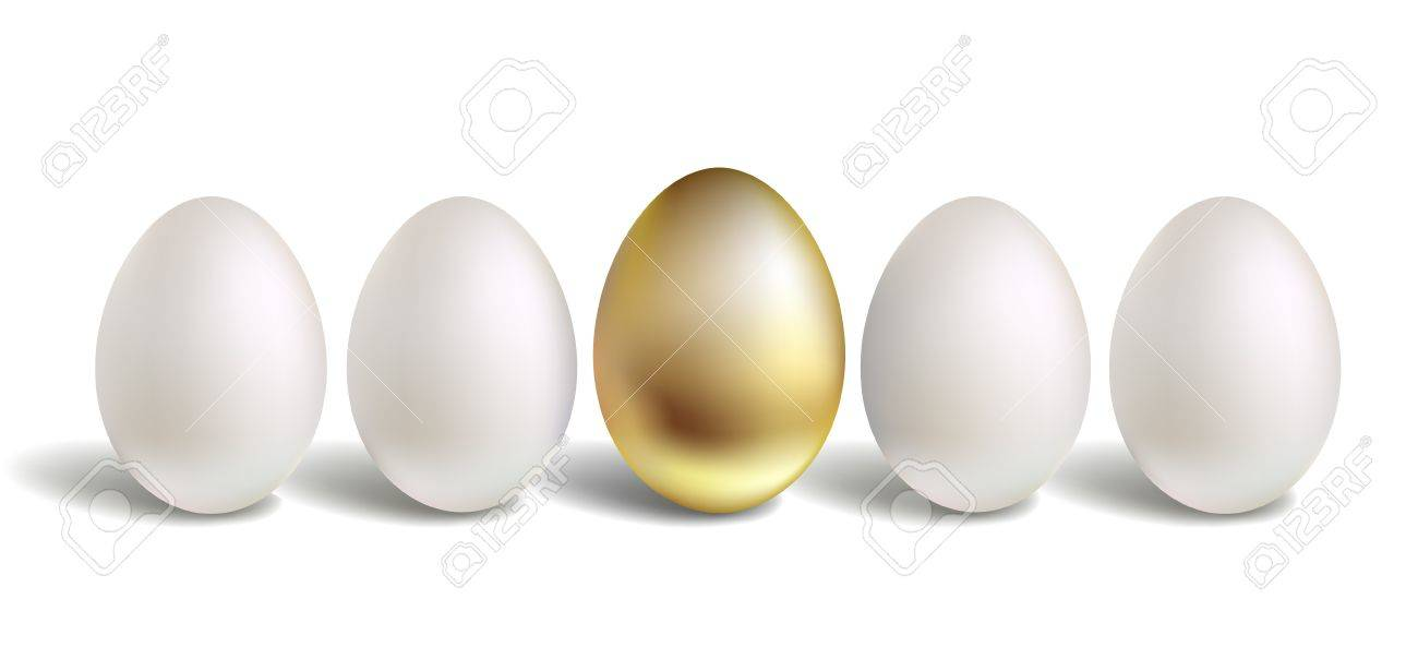 Gold Vector Egg Concept. White and unique golden eggs Stock Vector - 18460514