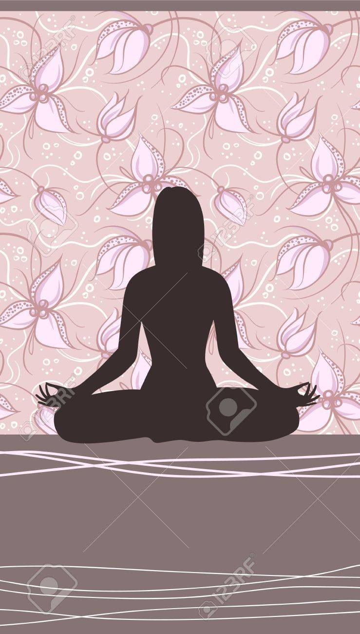 Yoga Card with Meditating Woman and Floral Background Stock Vector - 21910682