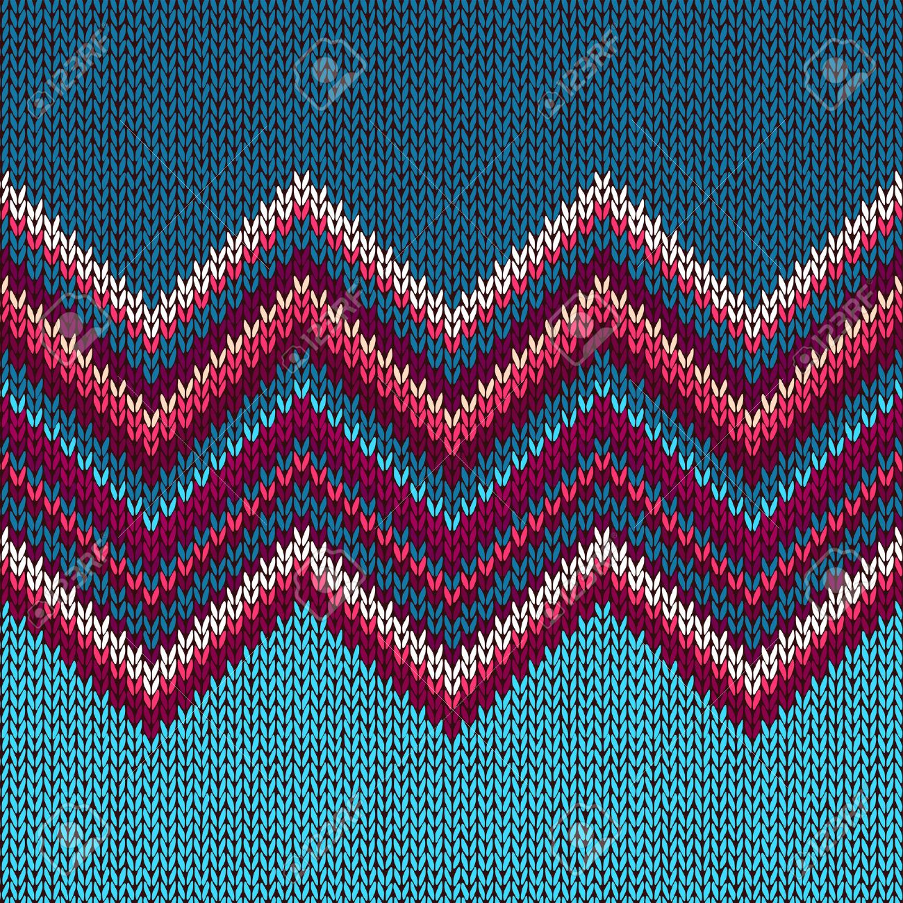 Knitted Seamless Fabric Pattern, Beautiful Blue Red Pink Knit ...