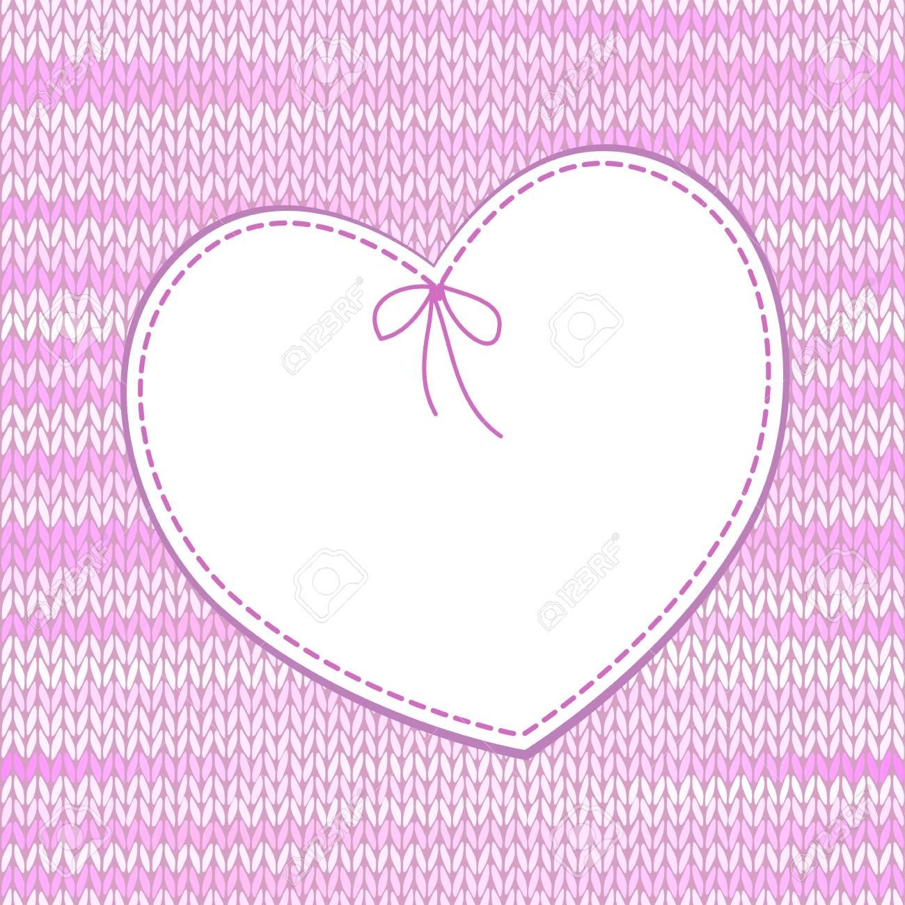 Diseño En Forma De Corazón Con El Patrón De Punto Ilustraciones ...