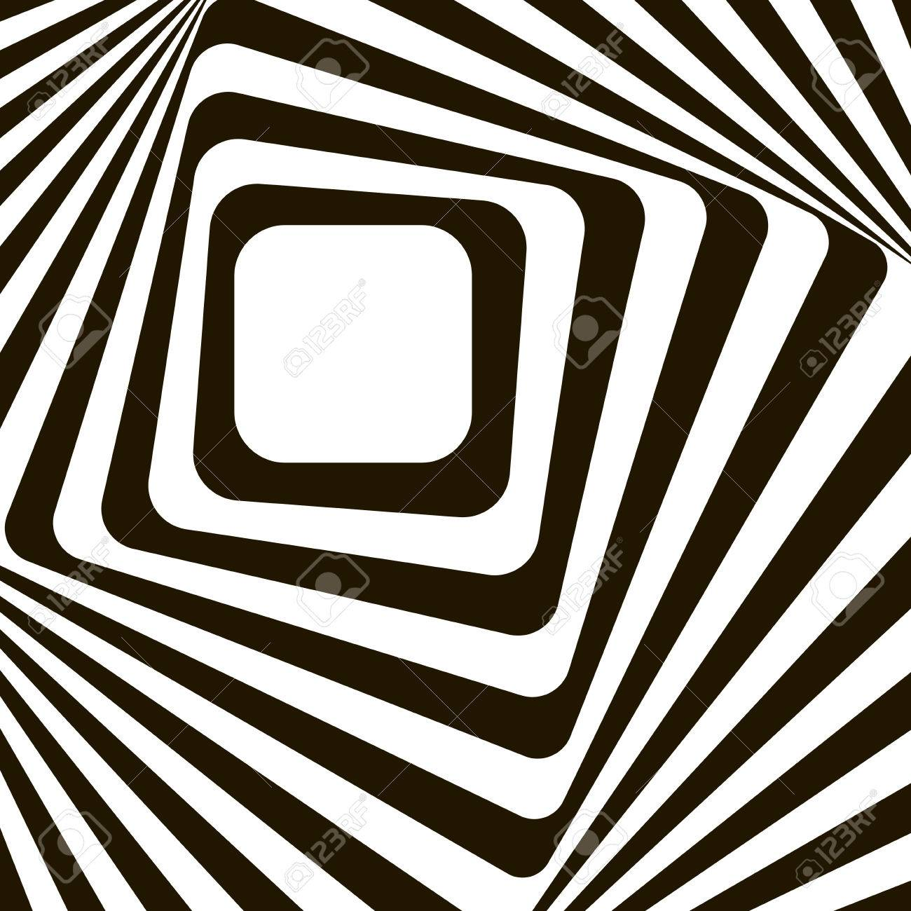 8d03e43ab2a Black and white optical illusion. Op art vector background with frame.  Abstract lines distortion