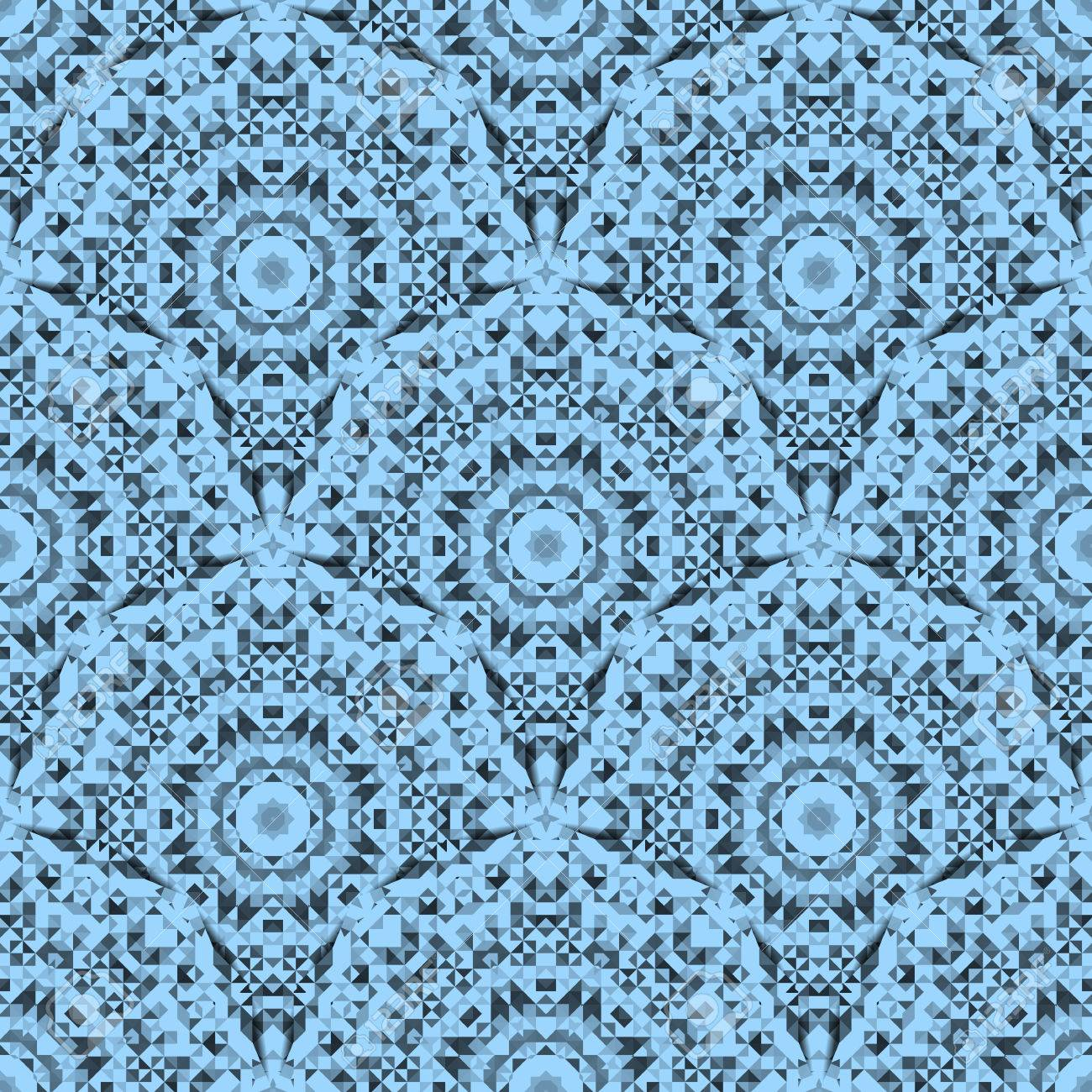 Abstract Seamless Blue And White Color Geometric Vector Pattern Vintage Wallpaper Background Mosaic Texture