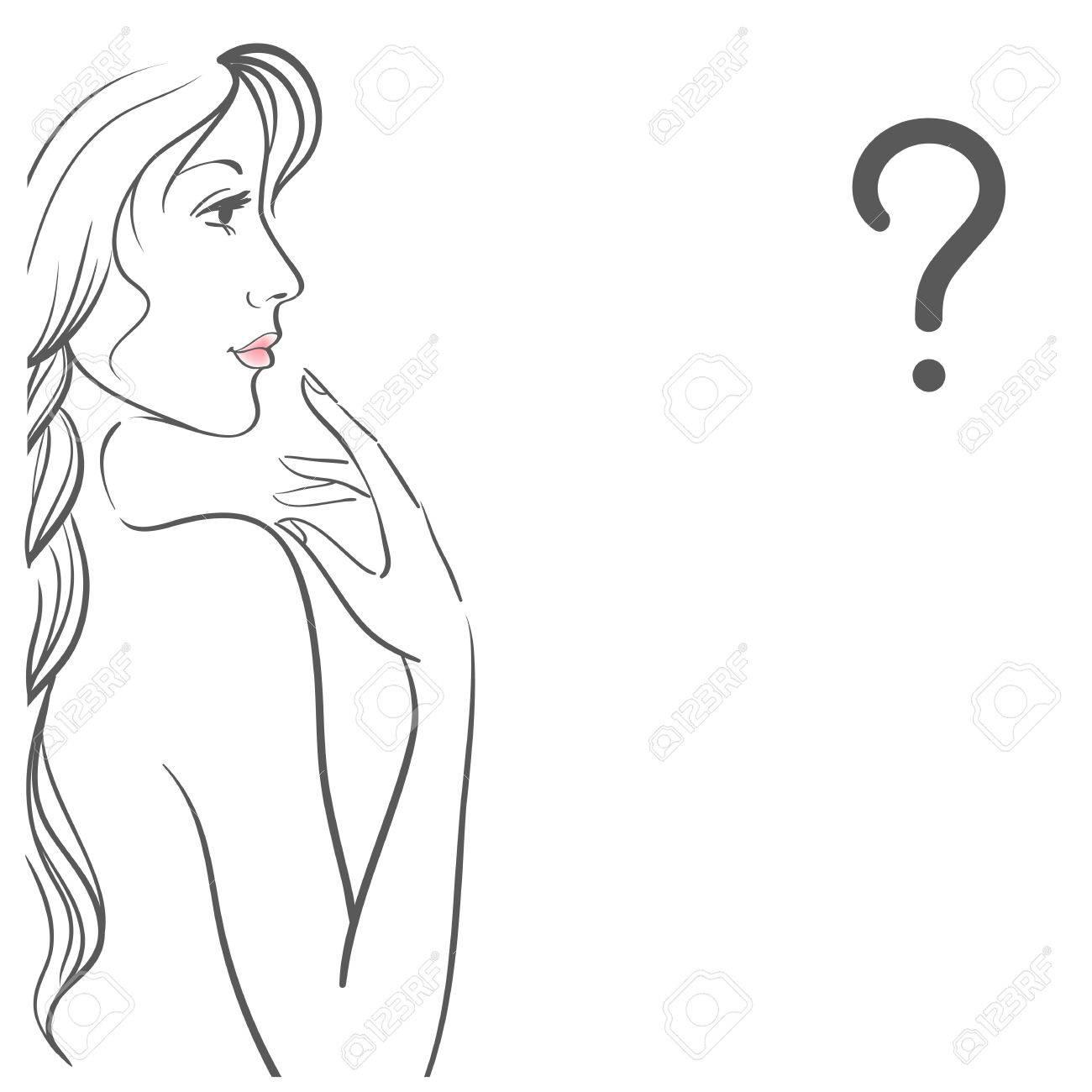 Jeune Femme à La Question Isolé Sur Fond Blanc Outline Dessin Profil Femelle