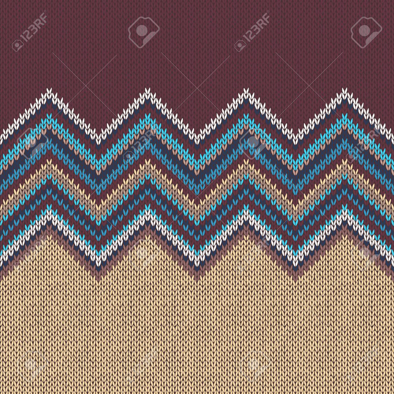 Seamless Knitting Pattern With Wave Ornament In Brown Blue White ...