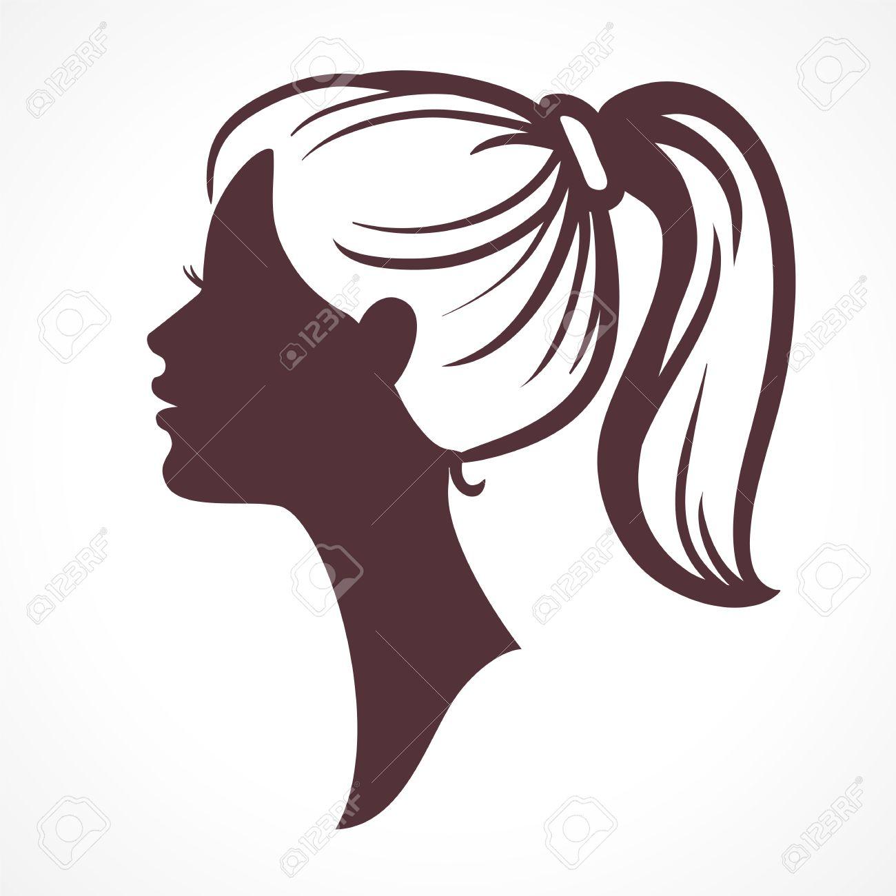 女性の顔のシルエット女の子の頭髪の尾を持つきれいな女の顔の姿勢の