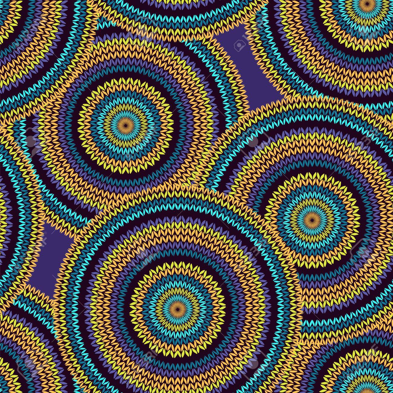 Abstract Seamless Ethnic Style Circle Simple Colorful Needlework Background, Ornamental Blue Violet Yellow Orange Black Round Geometric Knitted Pattern - 59408256