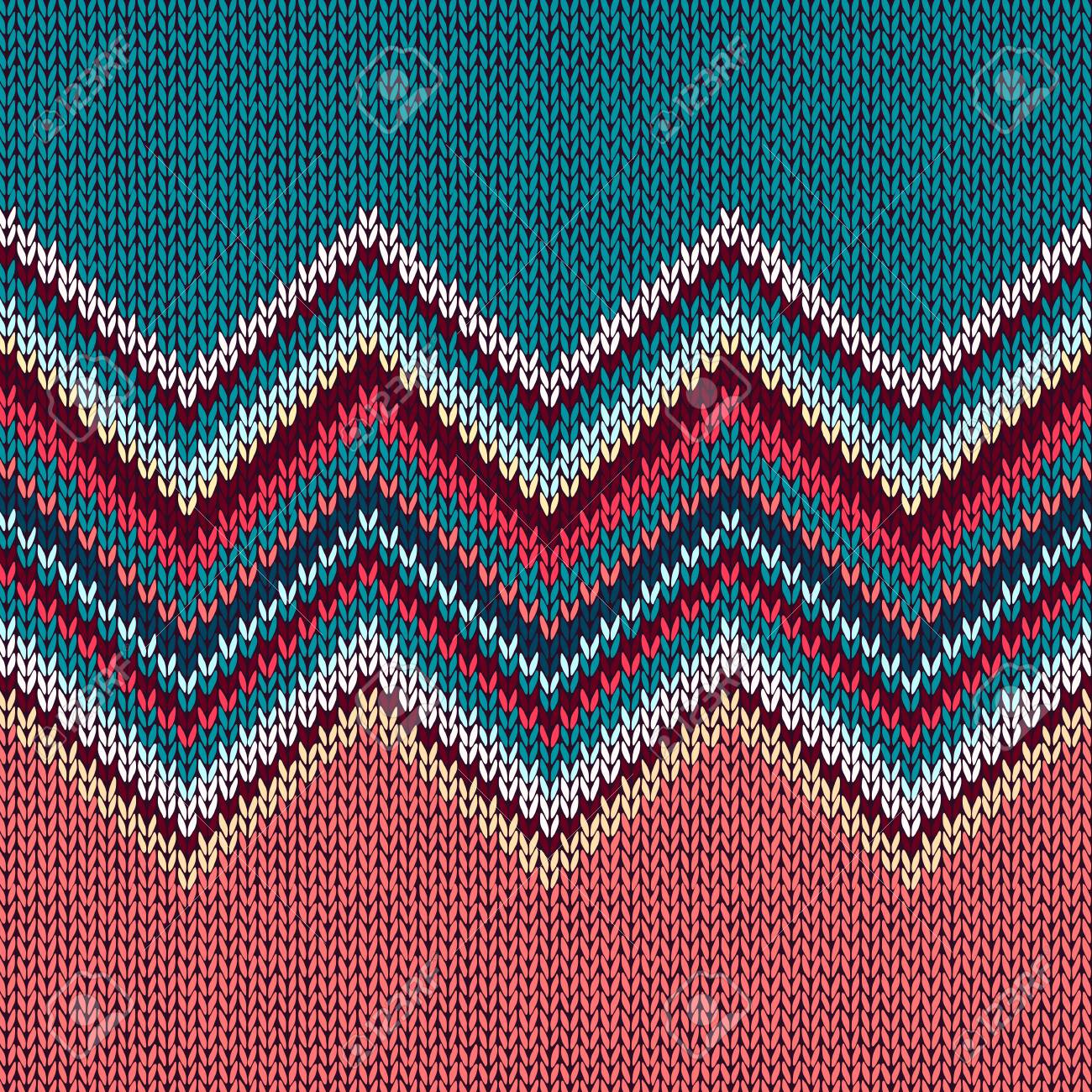 Seamless Knitting Christmas Pattern With Wave Ornament In Red ...