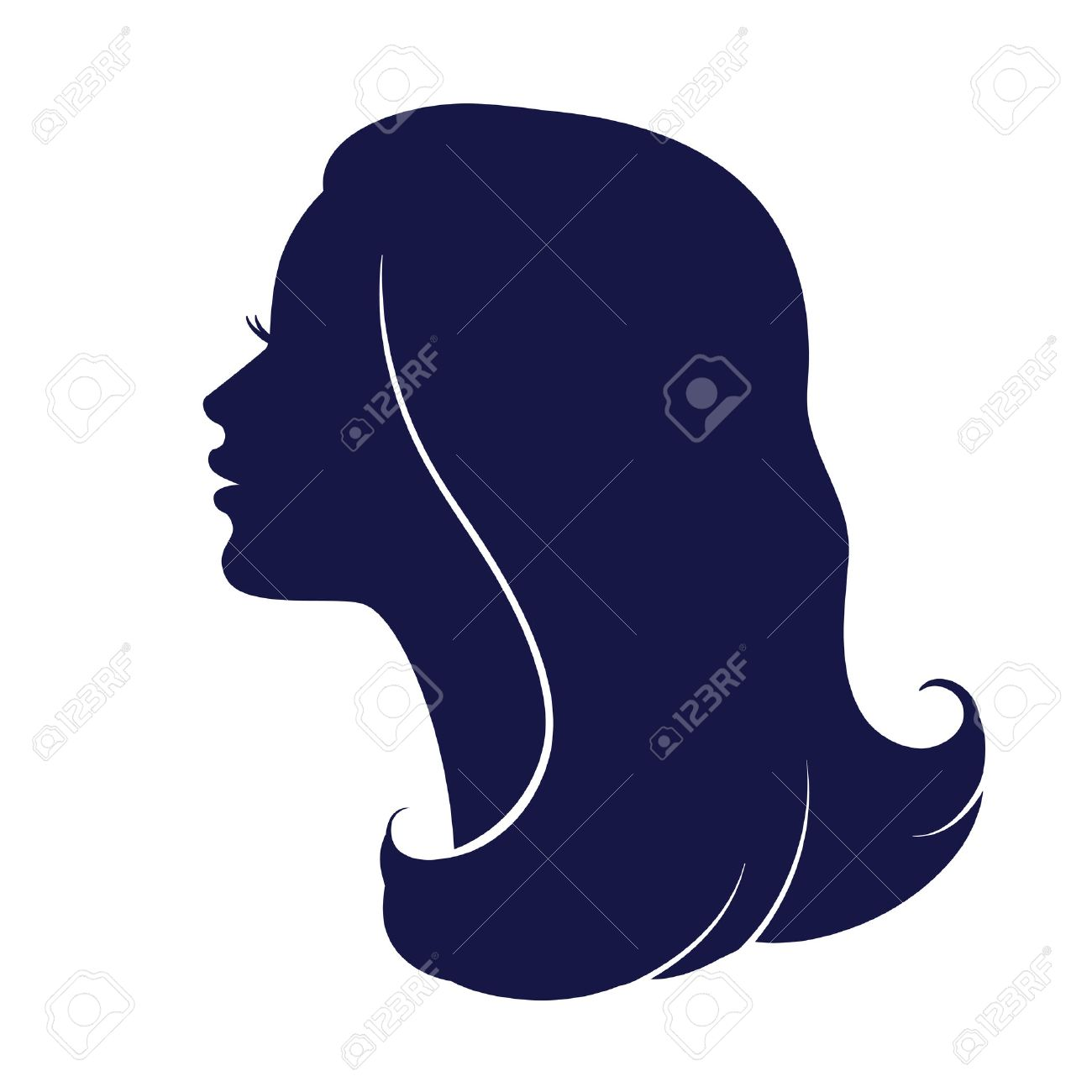 female head silhouette haircut hair of medium length stock vector