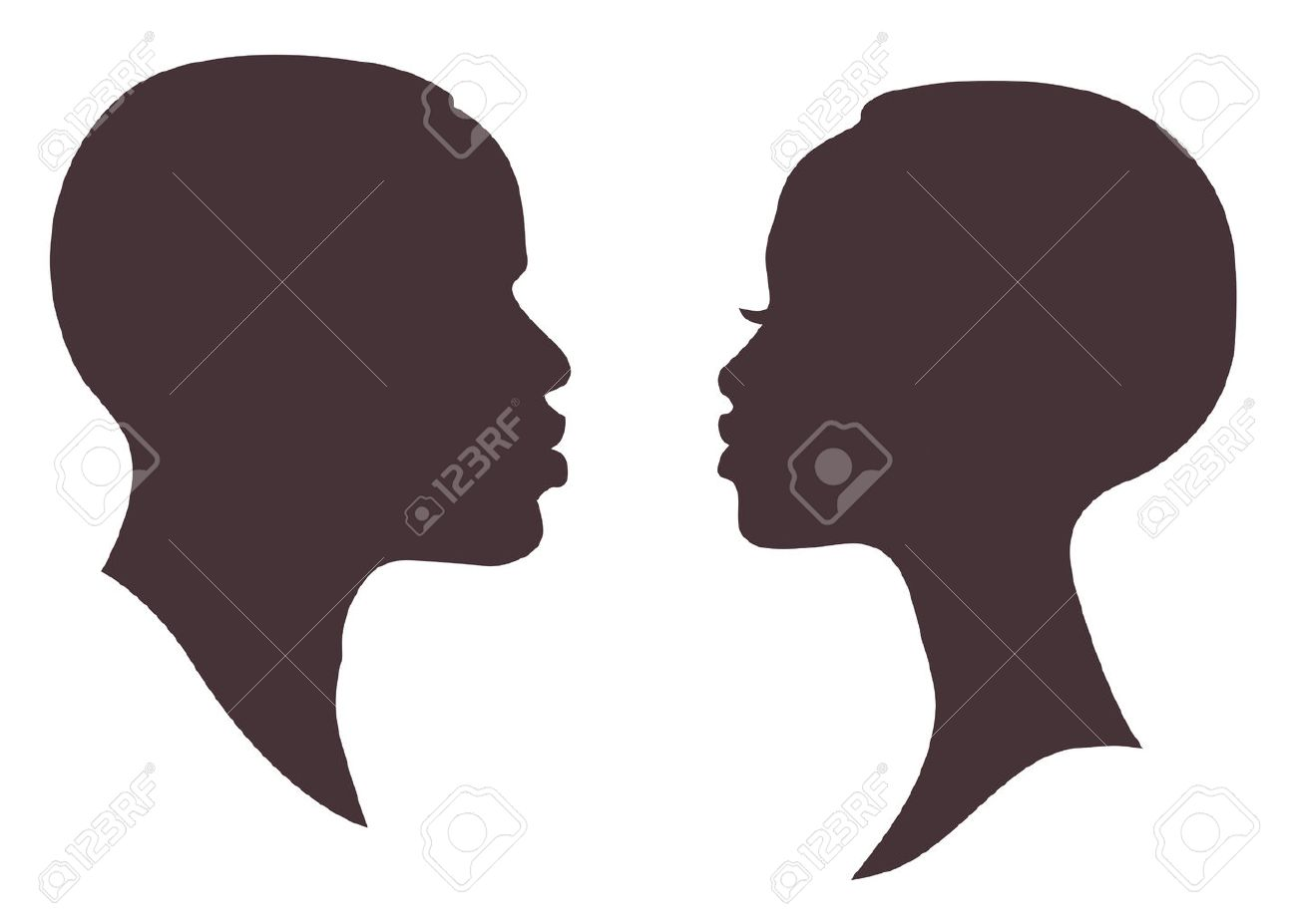 African woman and man face silhouette. Young attractive modern female brutal male profile sign - 64659713