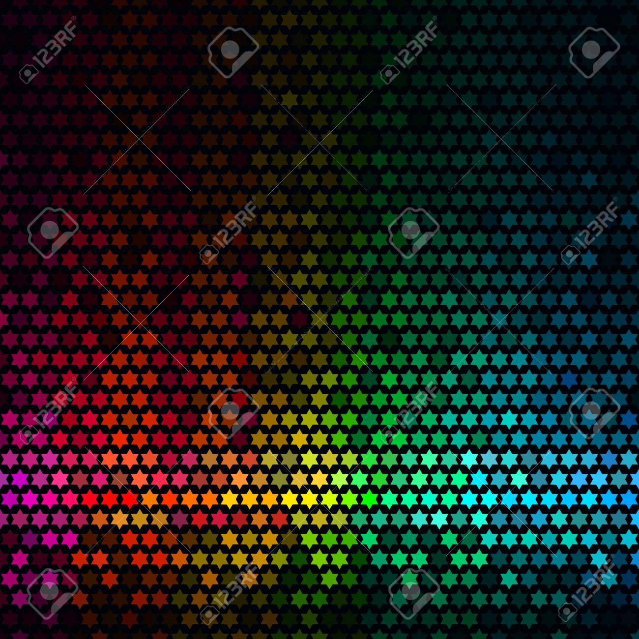 Fond De Disco De Lumières Abstraites Vecteur De Mosaïque De Pixel étoile Multicolore
