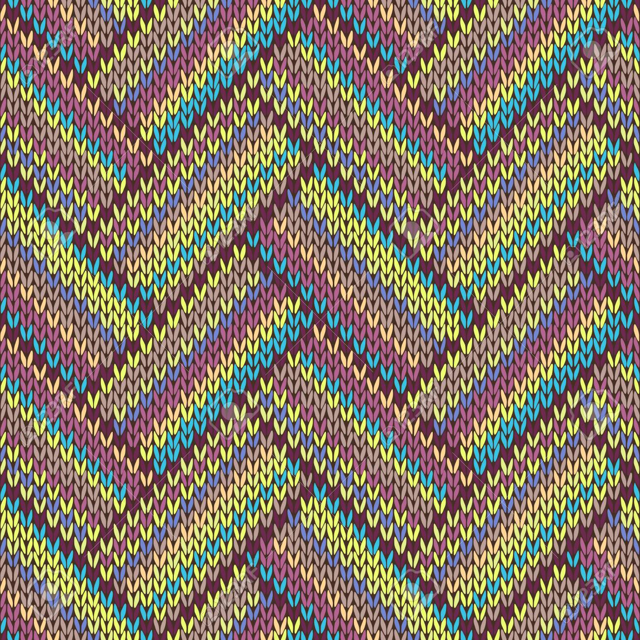 seamless knitted pattern multicolored repeating tribal template