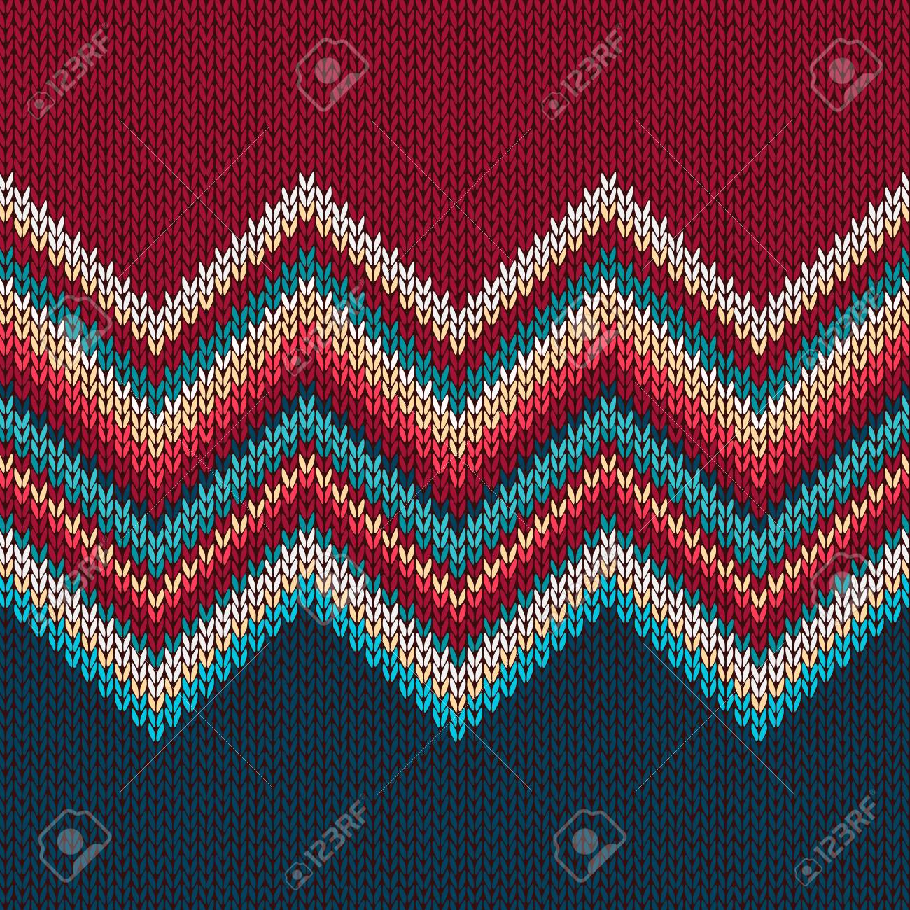 Seamless Knitting Pattern With Wave Ornament In Red Blue White ...