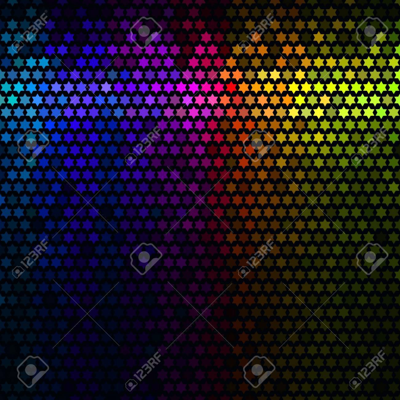 Abstrait Multicolore Lumières Disco Vecteur De Mosaïque De Pixel étoile