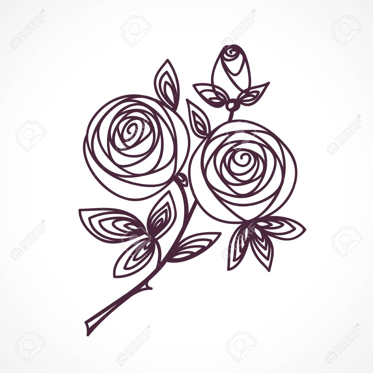 Conosciuto Rose. Disegno Della Mano Del Mazzo Di Fiori Stilizzati. Icona  EW24