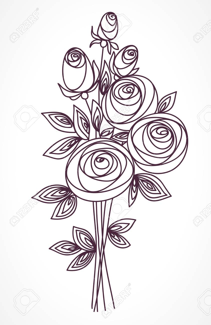 Flower Bouquet. Stylized Roses Outline Hand Drawing. Present ...