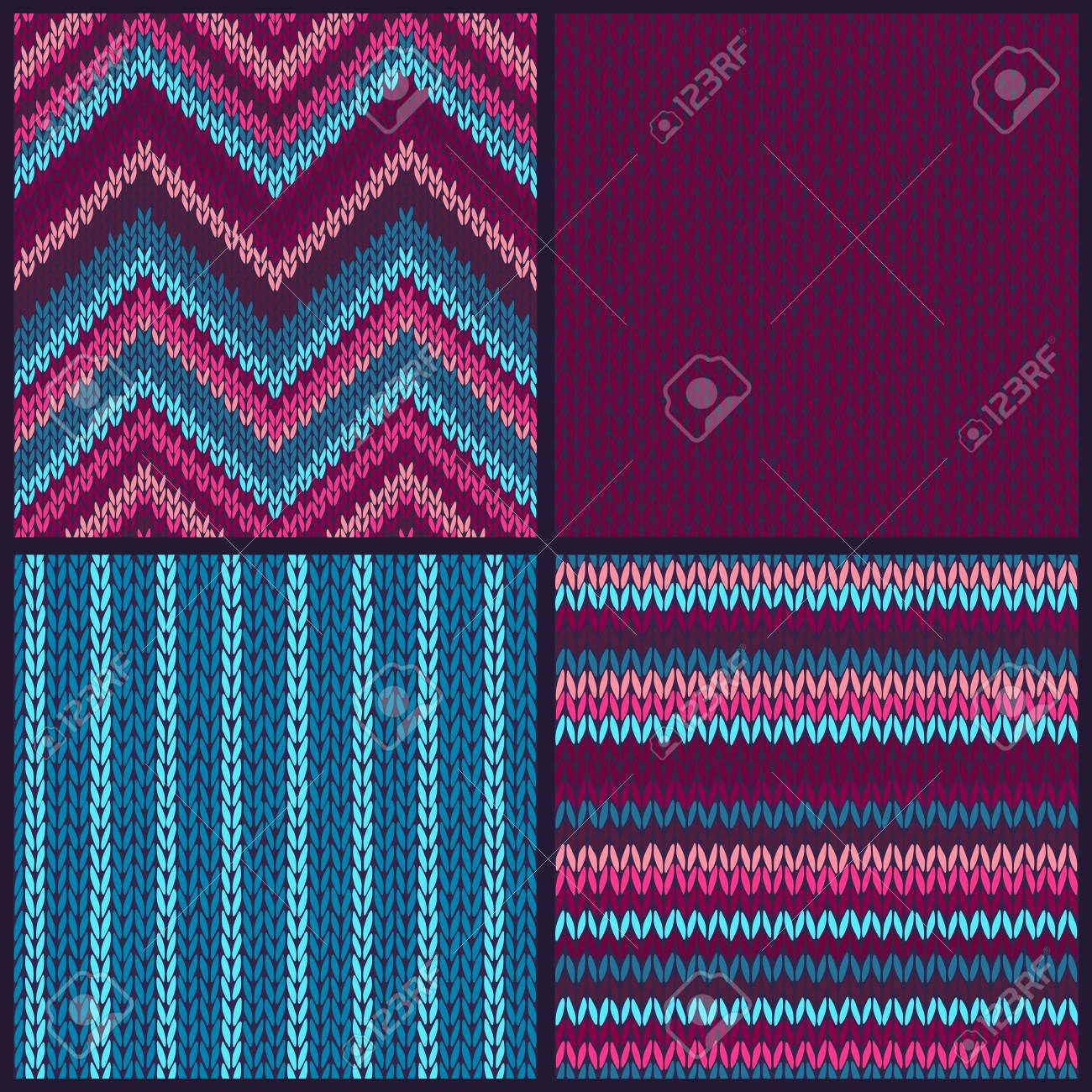 seamless knitted pattern set of blue pink white color backgrounds