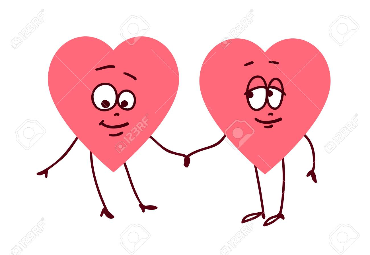Pair of hearts holding hands  Concept of friendship love support