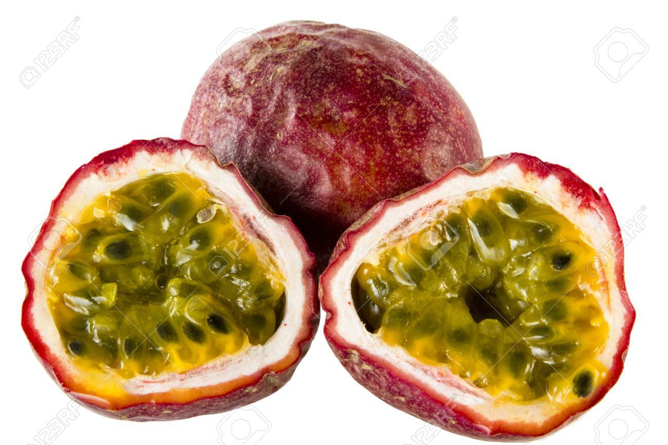 two halfs of passionfruit an a whole one Stock Photo - 9470406