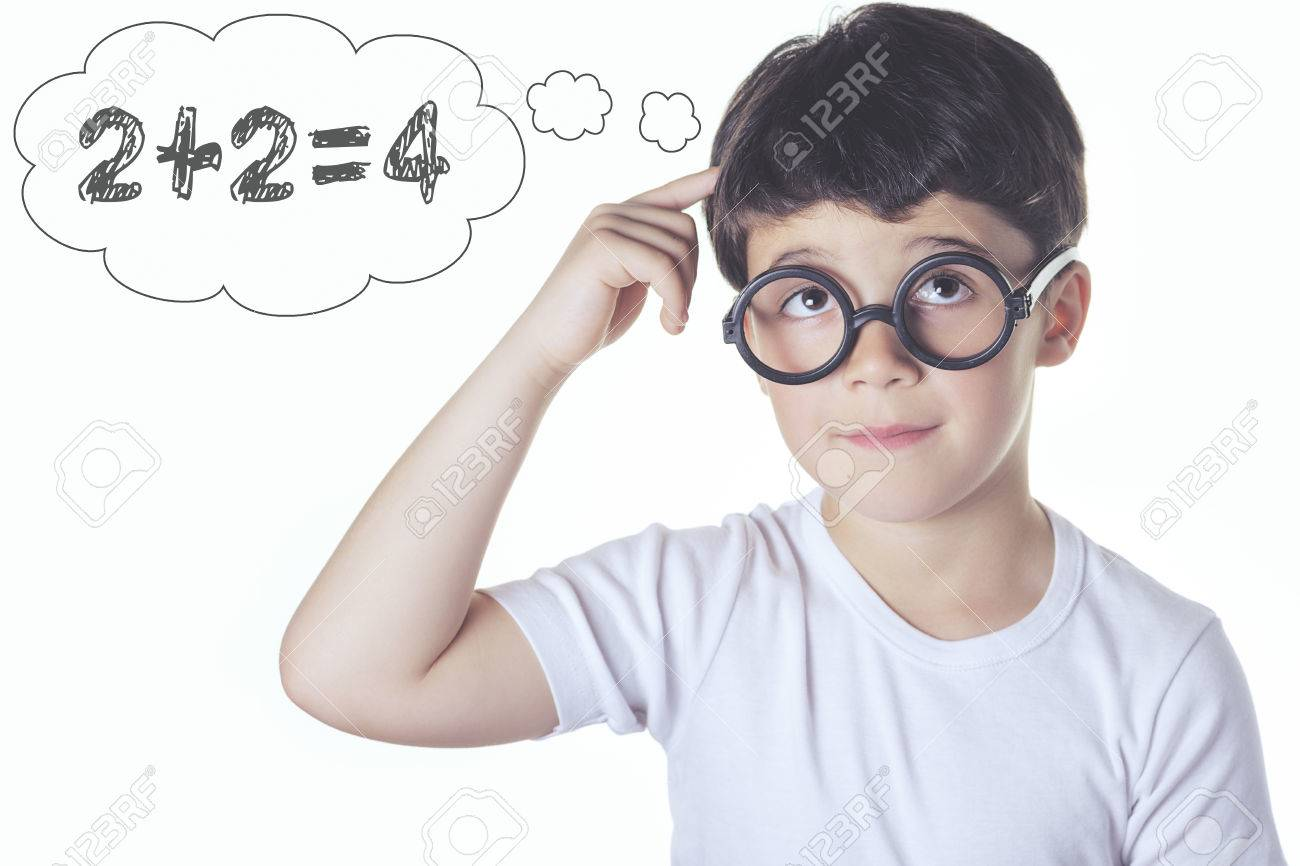 Boy Thinking About Math Answer Stock Photo, Picture And Royalty Free ...