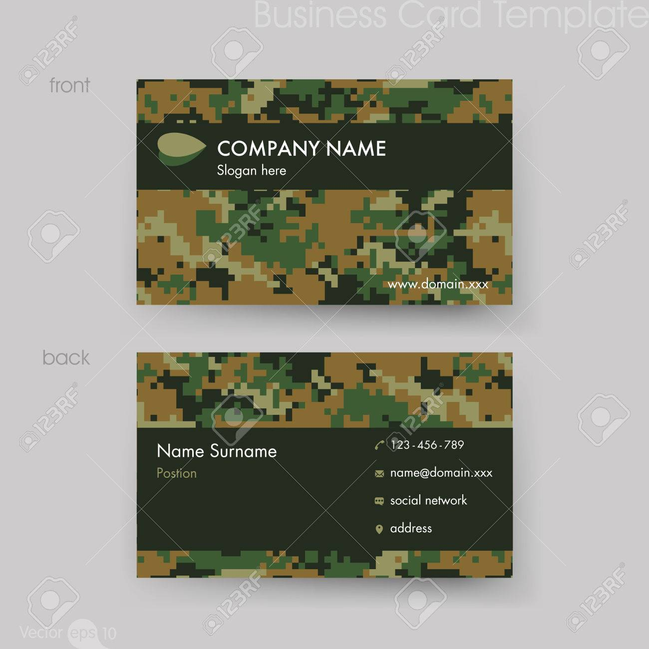 Camouflage Pattern Business Card Template Royalty Free Cliparts ...