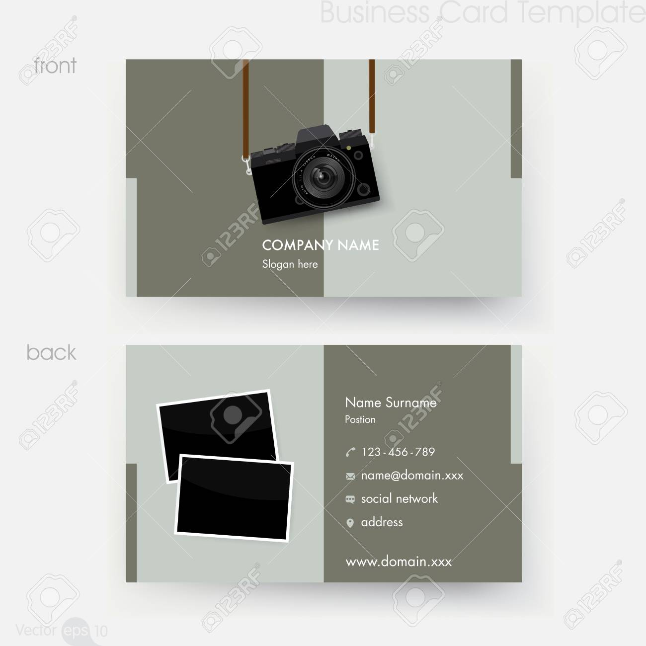 Photographer business card template royalty free cliparts vectors photographer business card template stock vector 67424735 accmission Choice Image