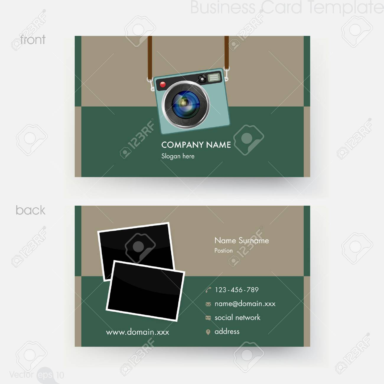 Photographer business card template royalty free cliparts vectors photographer business card template stock vector 67424823 cheaphphosting Gallery