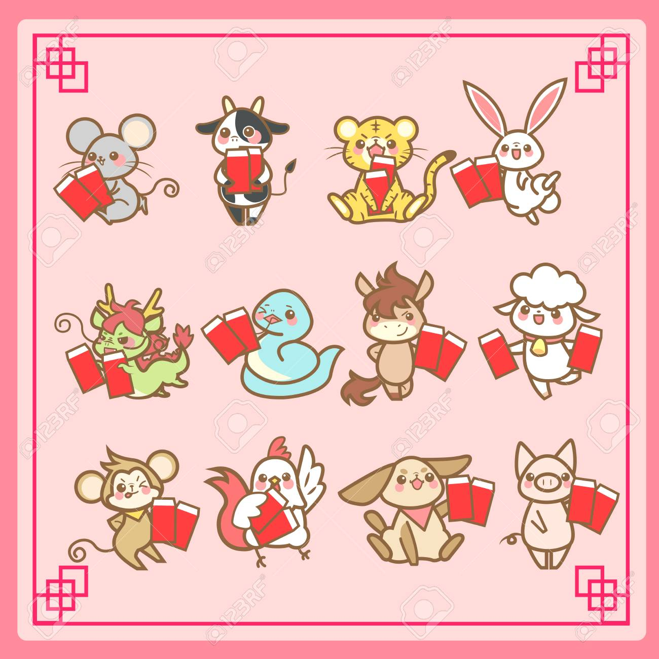 610d04f32 cute cartoon chinese zodiac and happy chinese new year Stock Vector -  69362351