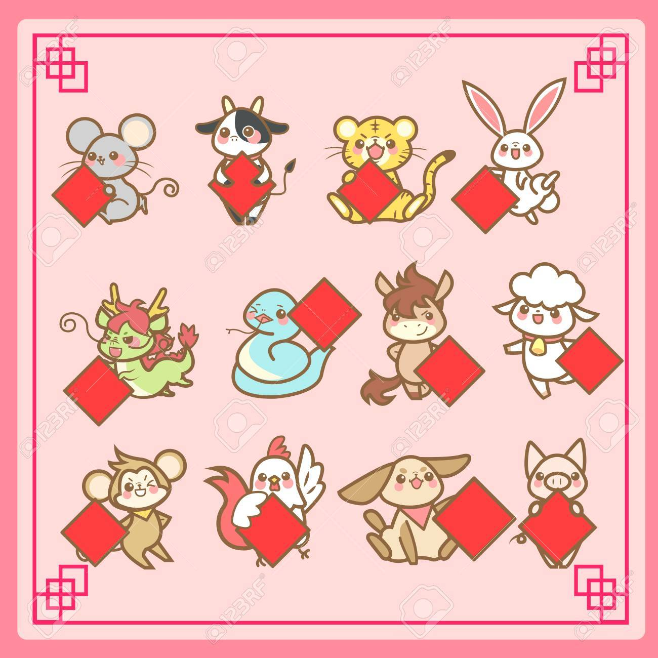 f52fe6f7a cute cartoon chinese zodiac and happy chinese new year Stock Vector -  69362353