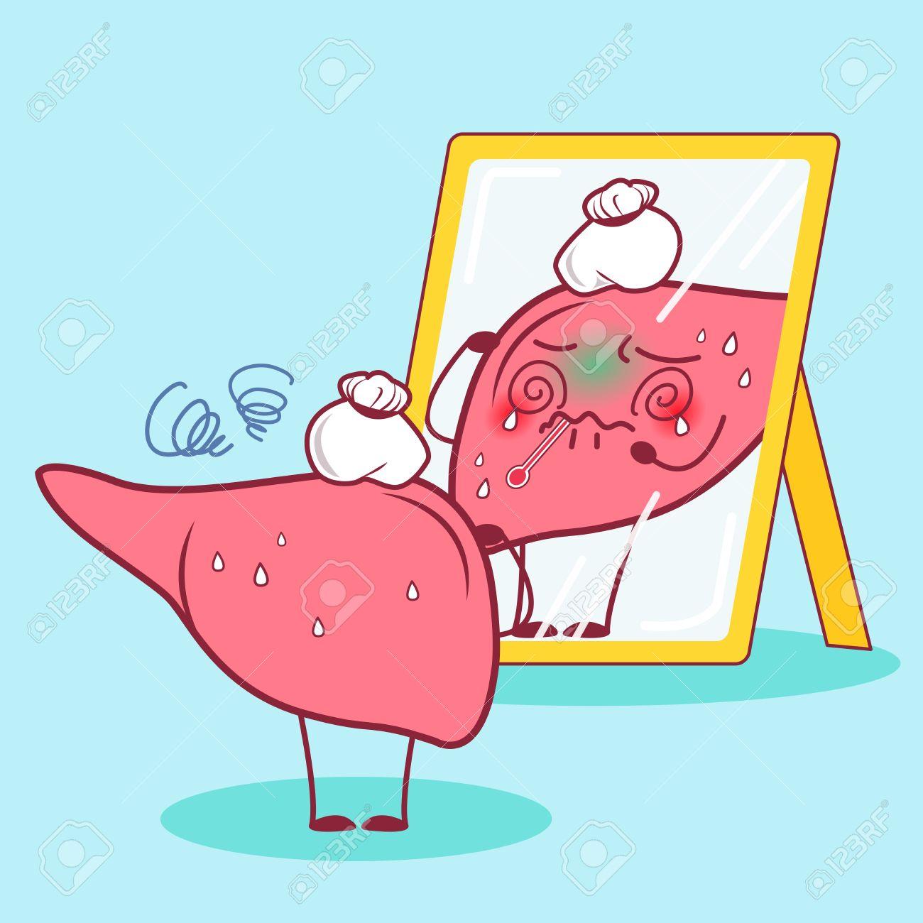 caricatura enfermo hígado mirar en el espejo ilustraciones
