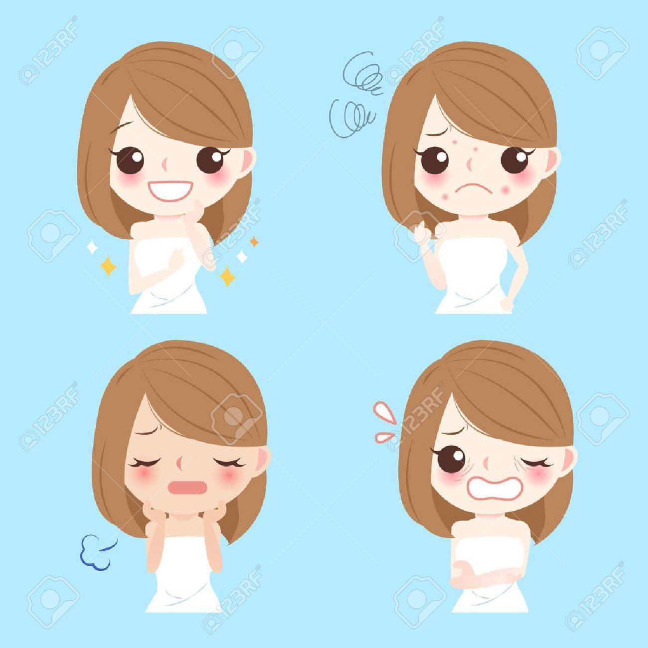 Cute cartoon woman with face problem for your concept - 71996862
