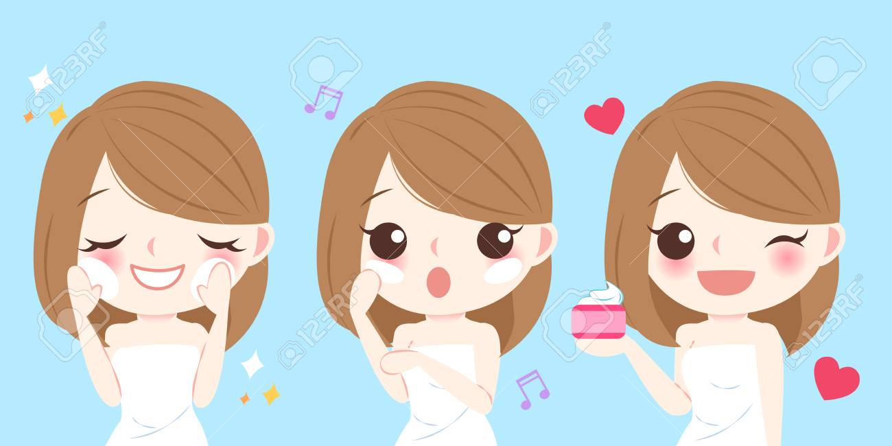 Cute Cartoon Skin Care Woman Use Lotion Royalty Free Cliparts Vectors And Stock Illustration Image 74446222