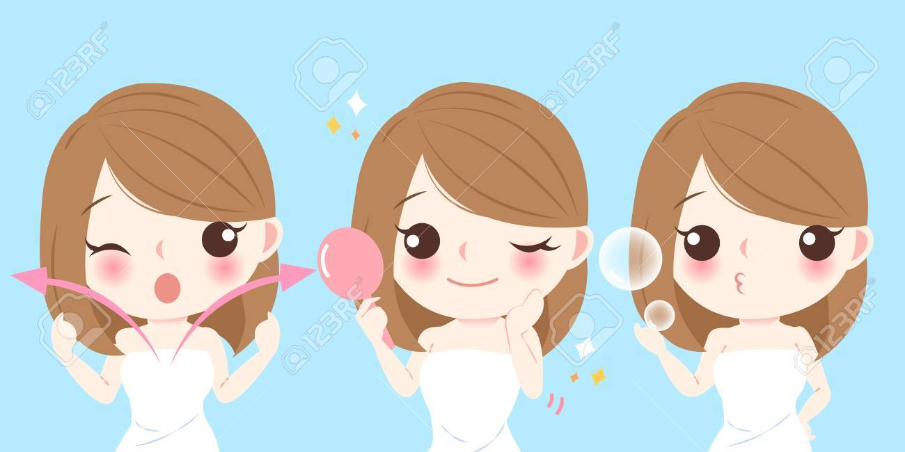 Beauty Cartoon Skin Care Woman On Blue Background Royalty Free Cliparts Vectors And Stock Illustration Image 76864139