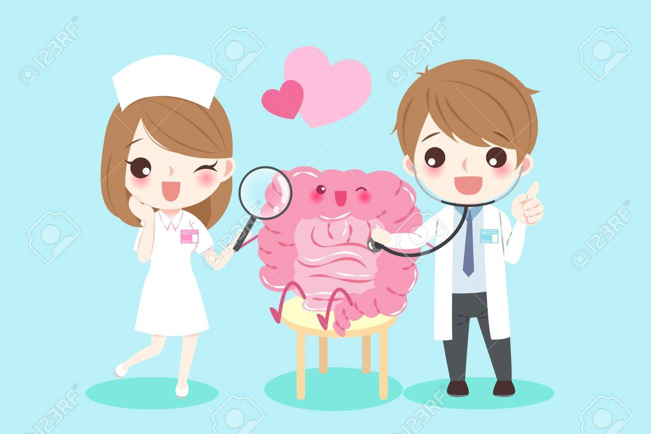 Cute Dibujos Animados Médicos Con Intestino Para Su Concepto De Salud