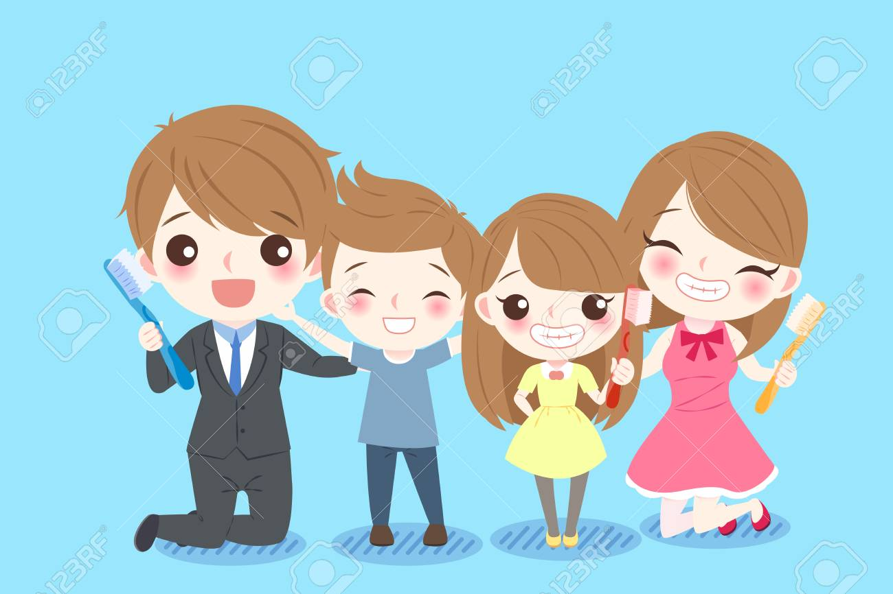 Cute Cartoon Family Smile Happily With Health Tooth On The Blue Royalty Free Cliparts Vectors And Stock Illustration Image 79610266 28,000+ vectors, stock photos & psd files. cute cartoon family smile happily with health tooth on the blue