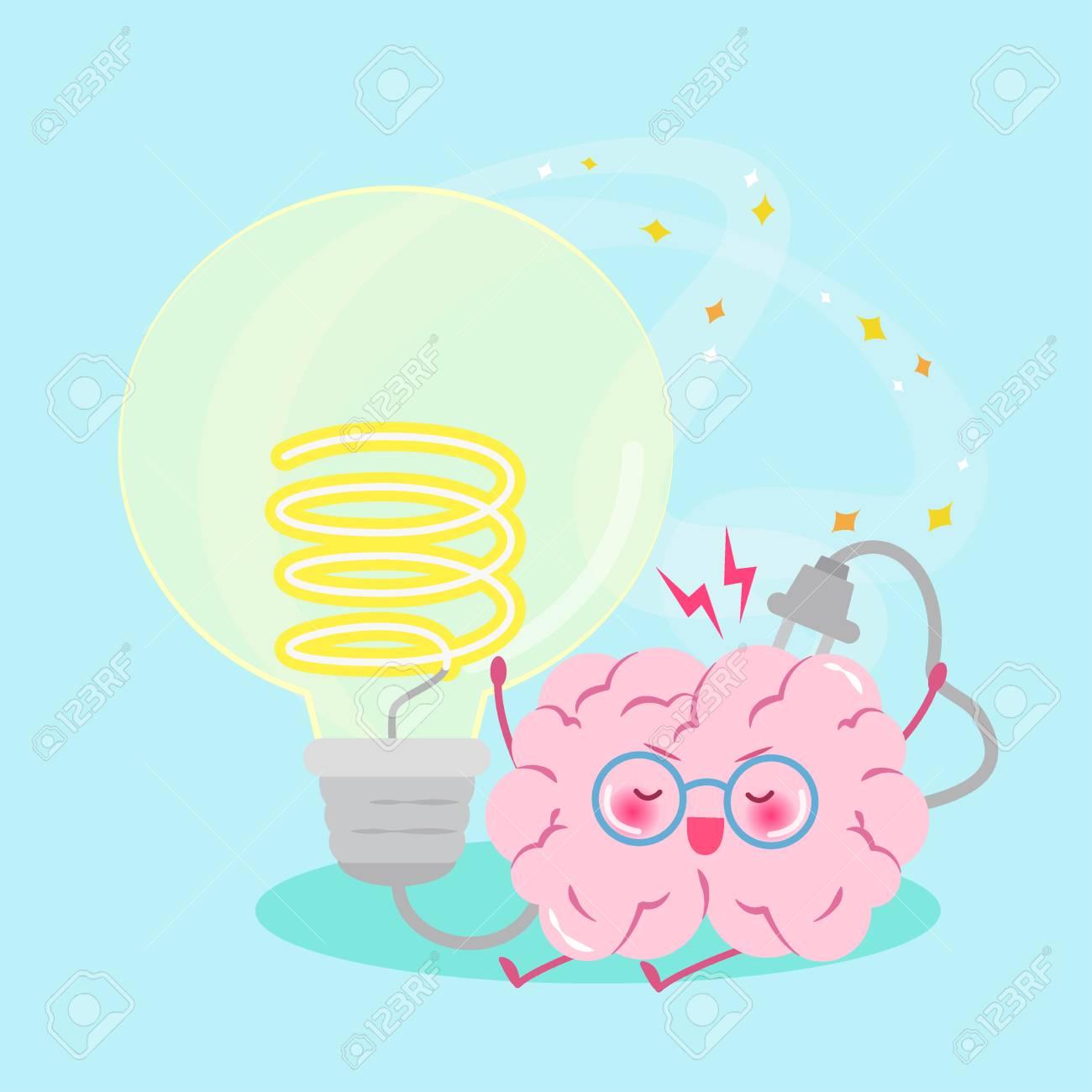 Cute Cartoon Brain With Smart Concept On The Green Background ... for Smart Cartoon Brain  75tgx