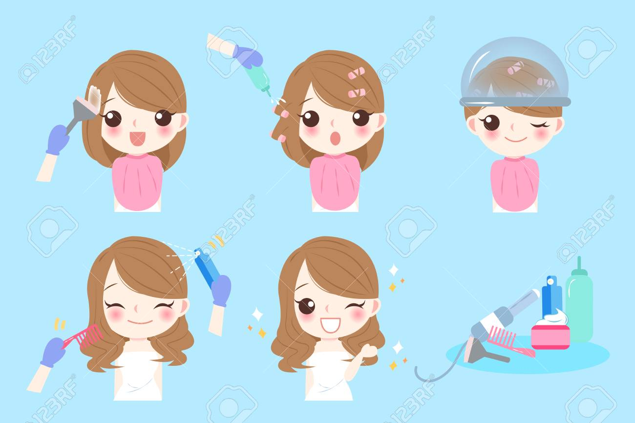 Cartoon Woman With Hair Salon On The Blue Background Royalty Free Cliparts Vectors And Stock Illustration Image 80845472