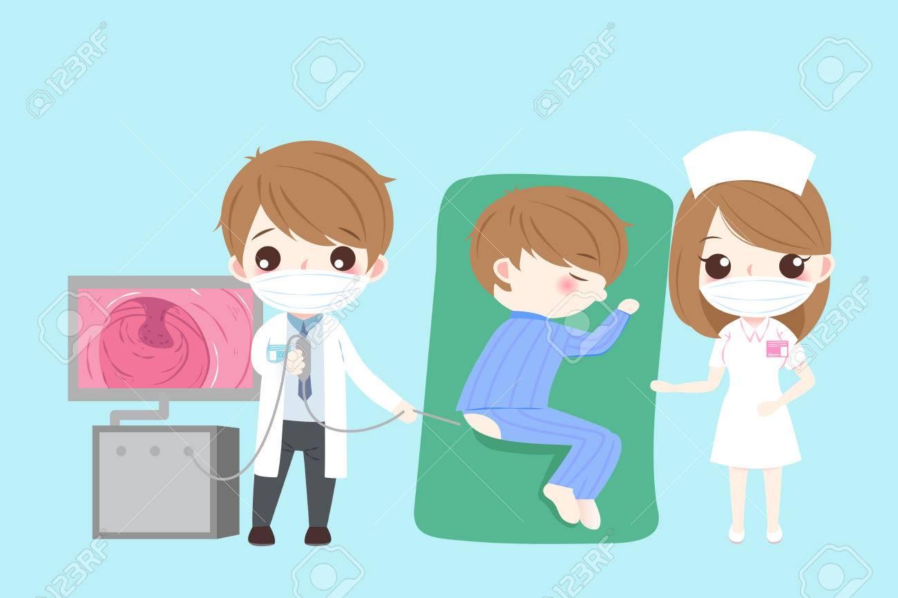 Médico De Dibujos Animados Con Concepto De Salud De Intestino Sobre Fondo Verde