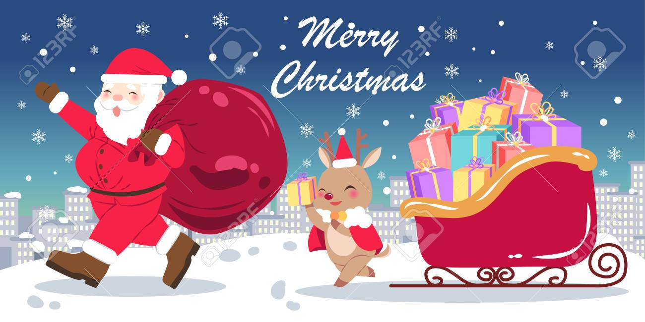 Merry Christmas Day On The Blue Background Royalty Free Cliparts ...