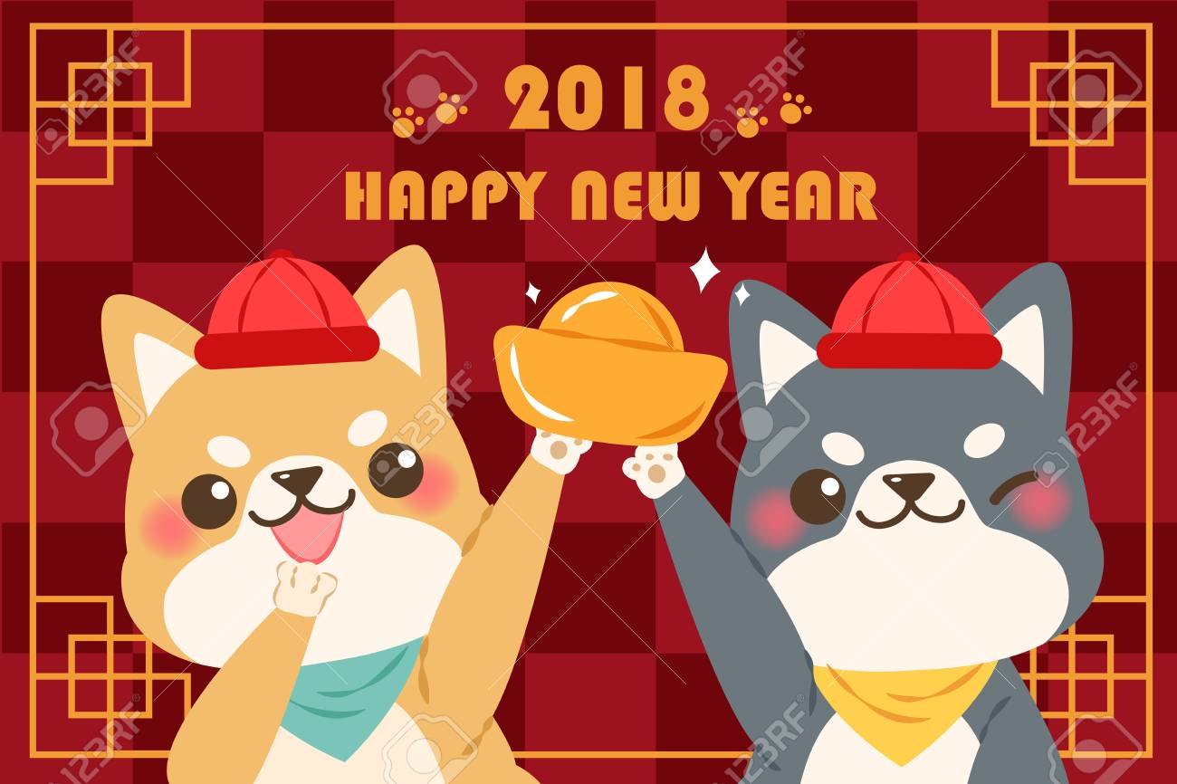 cute cartoon dog with 2018 new year background on checkered background stock vector 90370044
